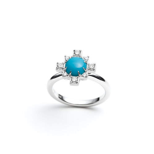 Turquoise and White Sapphire Ring in Sterling Silver