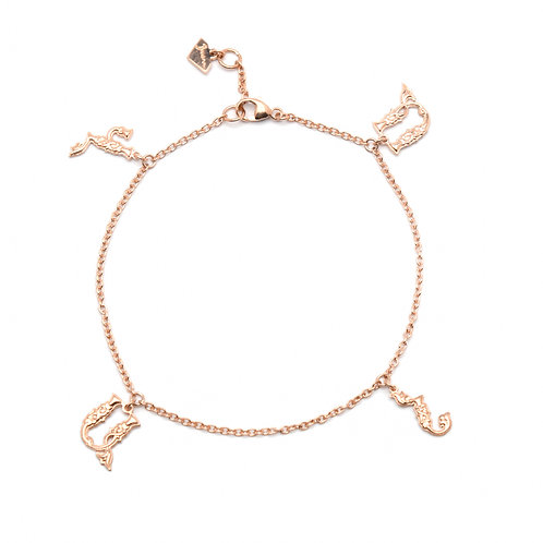 Armenian Four Letters Bracelet in Rose Gold