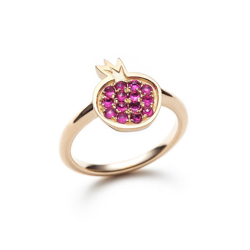 """Pomegranate"" Ruby Ring in Yellow Gold"