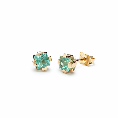 Emerald and Diamond Stud Earrings in Yellow Gold
