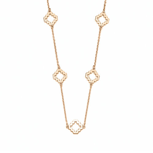 Five Motif Collar Necklace in Yellow Gold