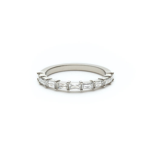 Baguette Diamond Half-Eternity Band in White Gold