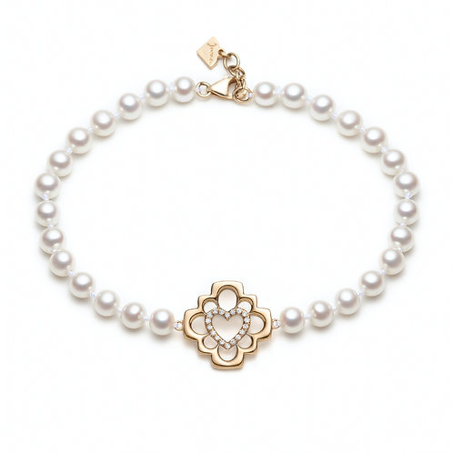 """Love Blossom"" Diamond and Pearl Bracelet in Yellow Gold"
