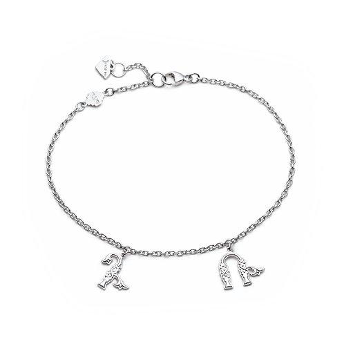 Armenian Two Letters Bracelet in Sterling Silver