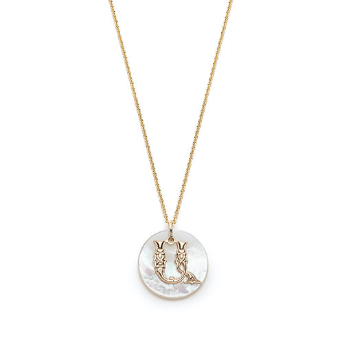 Mother of Pearl Armenian Initial Mini Pendant in Yellow Gold