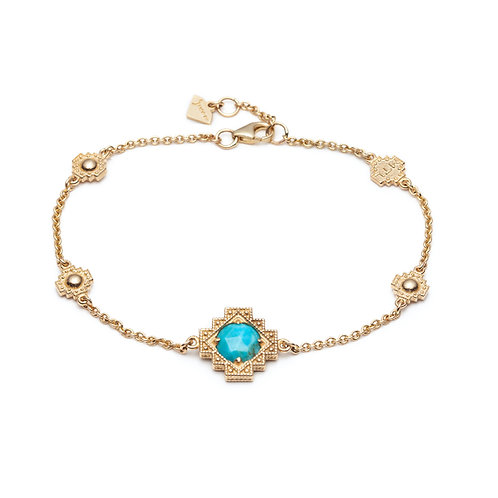 Turquoise Motif Bracelet in Yellow Gold