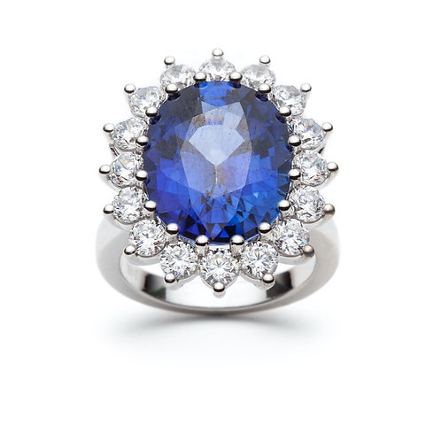 """""""Royal Flower"""" Blue Sapphire and Diamond Engagement Ring"""