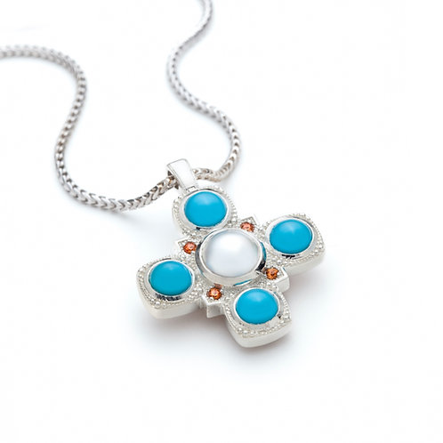 Pearl, Turquoise and Sapphire Medallion Necklace in Sterling Silver