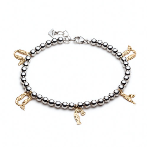 Name Charm Bracelet in Yellow Gold