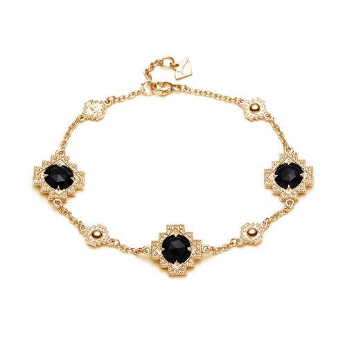 Black Onyx Motif Bracelet in Yellow Gold