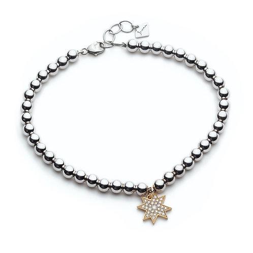 """Asteri"" Diamond Pavé Charm Beaded Bracelet in Yellow Gold"