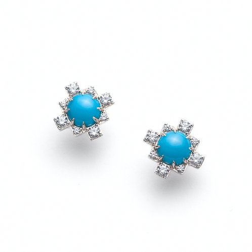 Turquoise and White Sapphire Stud Earrings in Silver