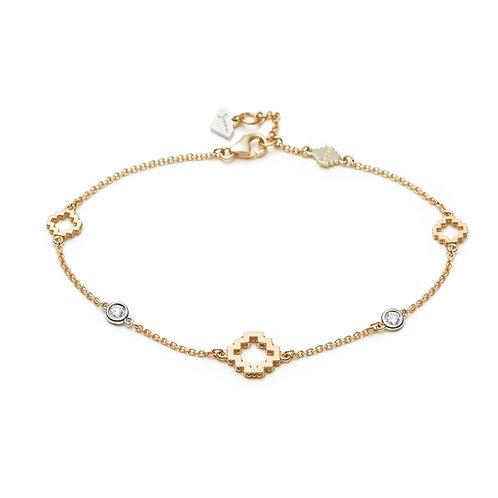Diamond Bezel Accent Three Motif Bracelet in Yellow Gold