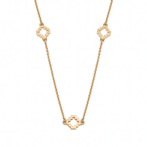 Seven Motif Necklace in Yellow Gold