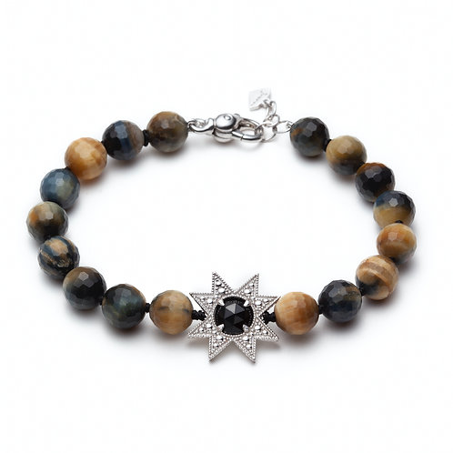 """Asteri"" Black Onyx and Tiger Eye Beaded Bracelet"
