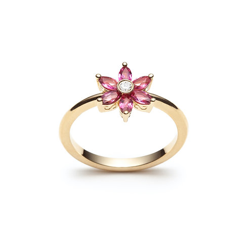 Ruby and Diamond Flower Ring in Yellow Gold