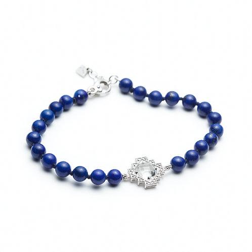 White Topaz and Lapis Lazuli Motif Beaded Bracelet in Sterling Silver