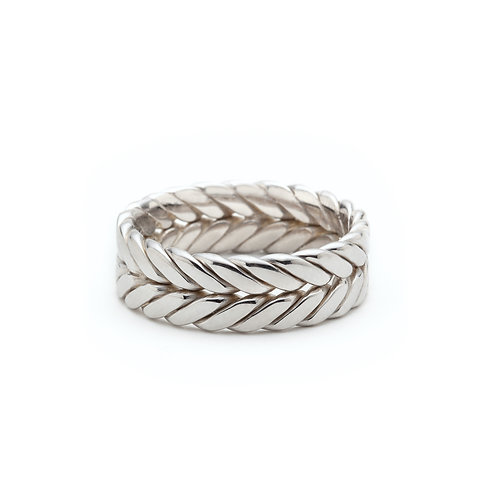 Knit Signature Men's Wedding Band in White Gold