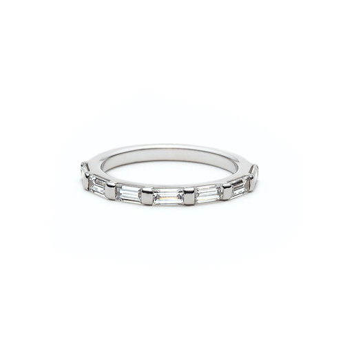 Baguette Diamond Signature Half-Eternity Ring in White Gold