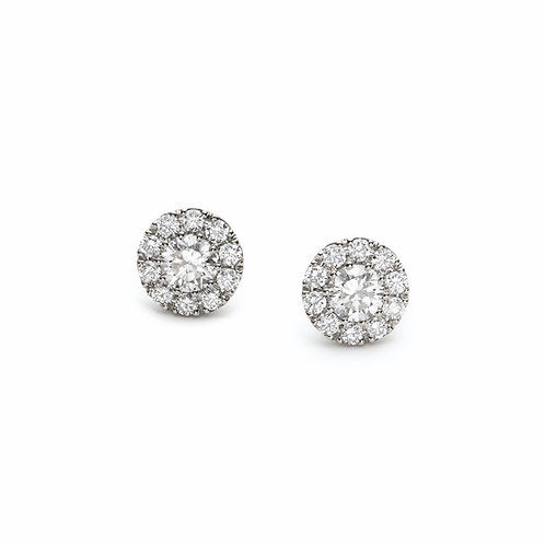 Round Diamond Halo Stud Earrings in White Gold