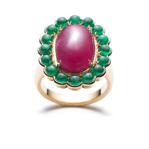 """Roubina"" Ruby and Emerald Halo Engagement Ring in Yellow Gold"