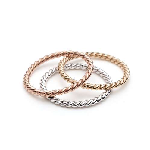 Stackable Twisted Rings in White, Yellow and Rose Gold