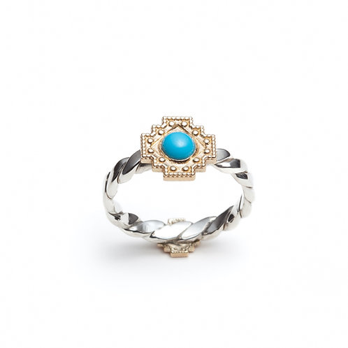 Turquoise Yellow Gold Motif Two-Tone Ring in Sterling Silver