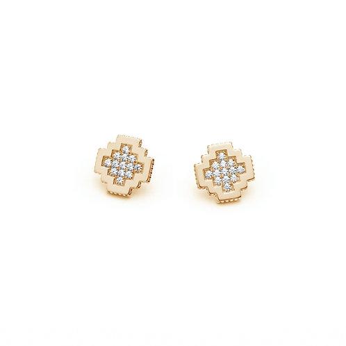 Diamond Pavé Soirée Stud Earrings in Yellow Gold