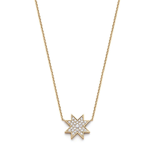 """Asteri"" Diamond Pavé Necklace in Yellow Gold"
