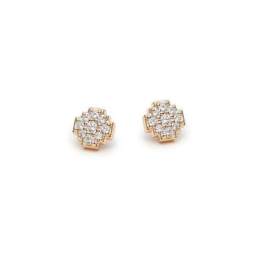 Diamond Pavé Motif Stud Earrings in Yellow Gold