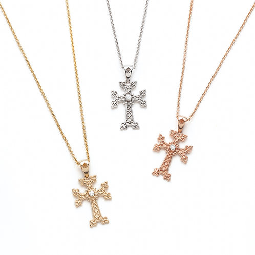 Diamond Accent Armenian Cross Pendants in Yellow Gold, White Gold and Rose Gold