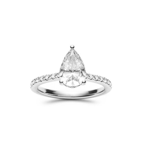 """Dia"" Pear-Shaped Diamond Hidden Halo Engagement Ring"