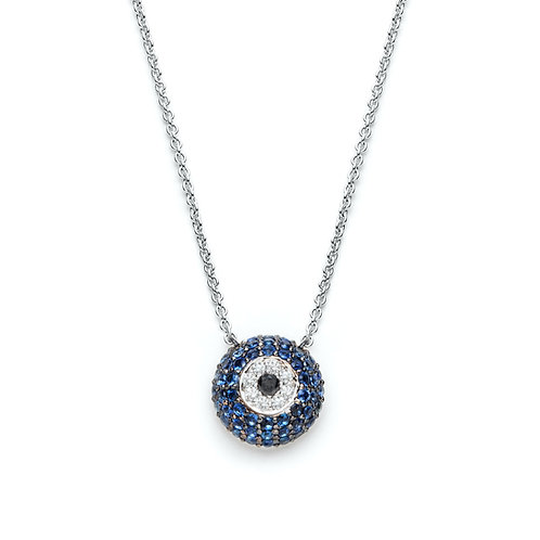 """Mataki"" Diamond and Sapphire Evil Eye Necklace in White Gold"