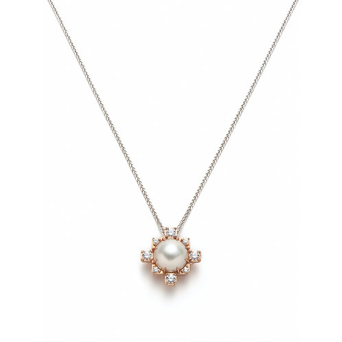 Pearl and Diamond Pendant in Rose Gold