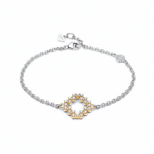 Diamond Pavé Two Tone Reversible Motif Bracelet in Yellow Gold