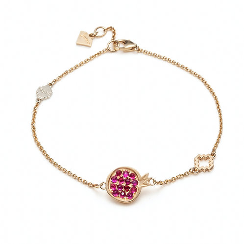 """Pomegranate"" Ruby Bracelet in Yellow Gold"