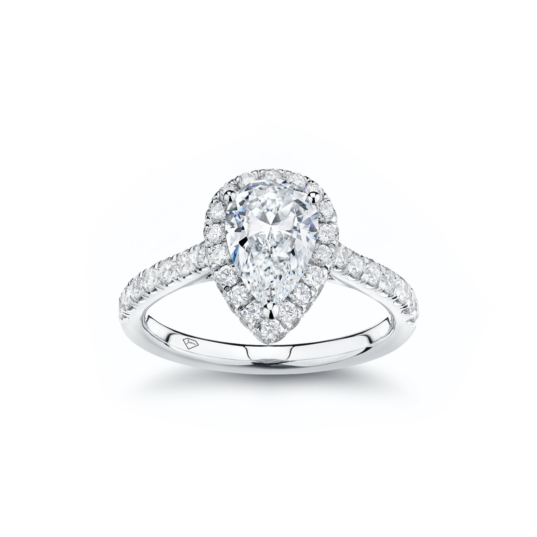 Jessica Pear Diamond Halo Engagement Rin