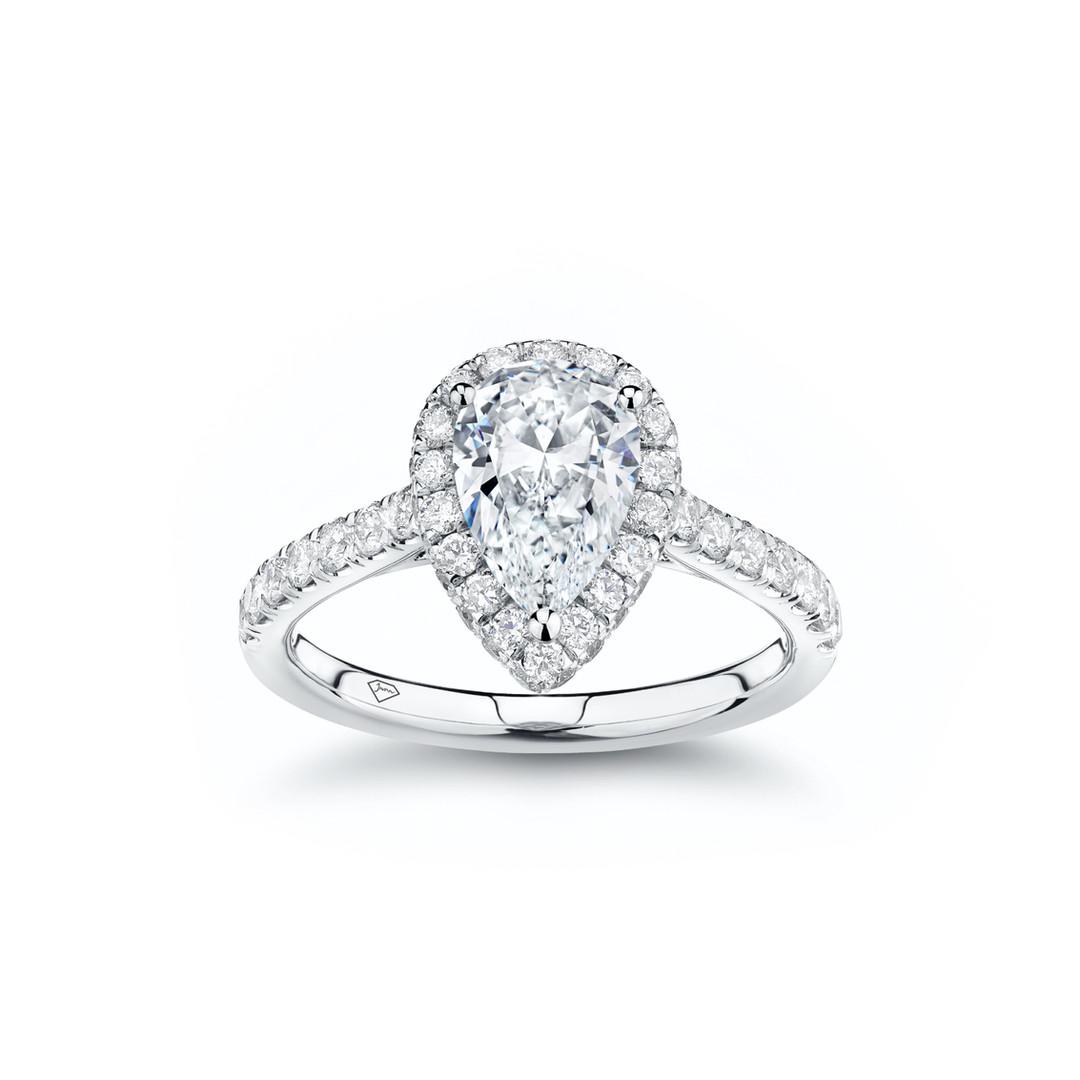 Jessica Pear Diamond Halo Engagement Rin