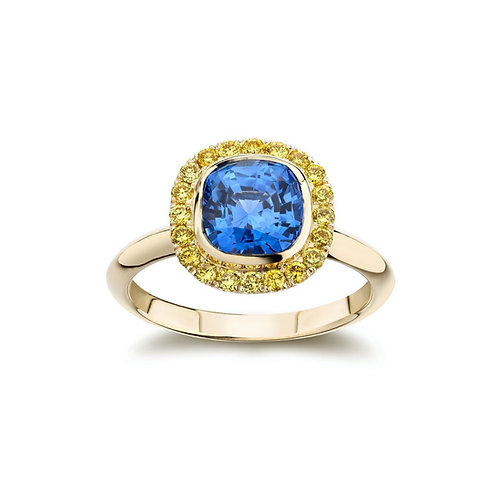 """Tatiana"" Blue Sapphire and Yellow Diamond Halo Engagement Ring"