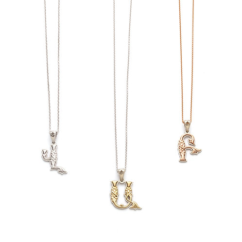 Armenian Letter Two Tone Pendants in White, Yellow and Rose Gold