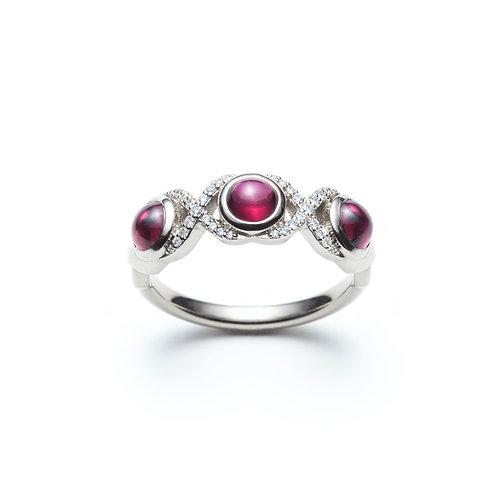 """DNA"" Red Garnet Birthstone Ring in White Gold"