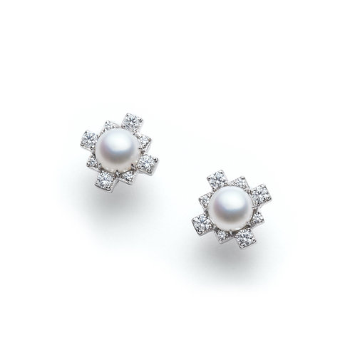 Pearl and Diamond Stud Earrings in White Gold