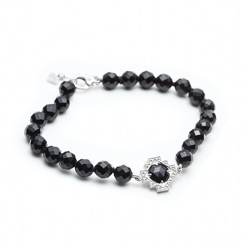 Black Onyx Motif Beaded Bracelet in Sterling Silver