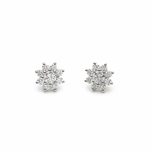 Round Diamond Flower Halo Stud Earrings in White Gold