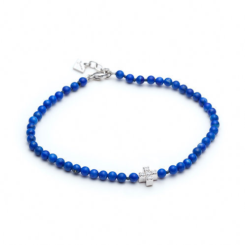 Diamond Pavé Cross Motif Lapis Lazuli Beaded Bracelet in Sterling Silver