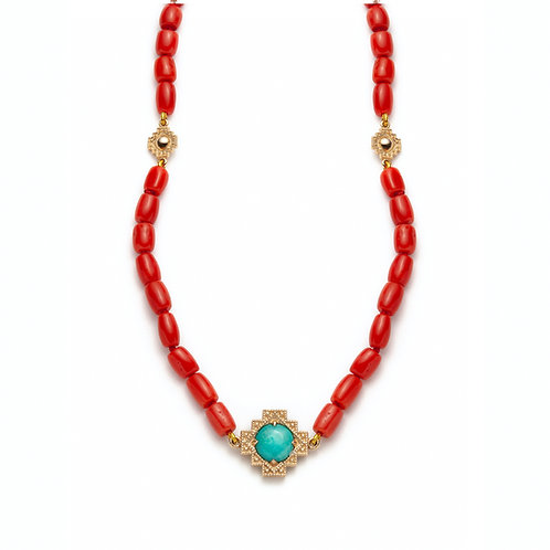 Turquoise and Coral Motif Beaded Necklace