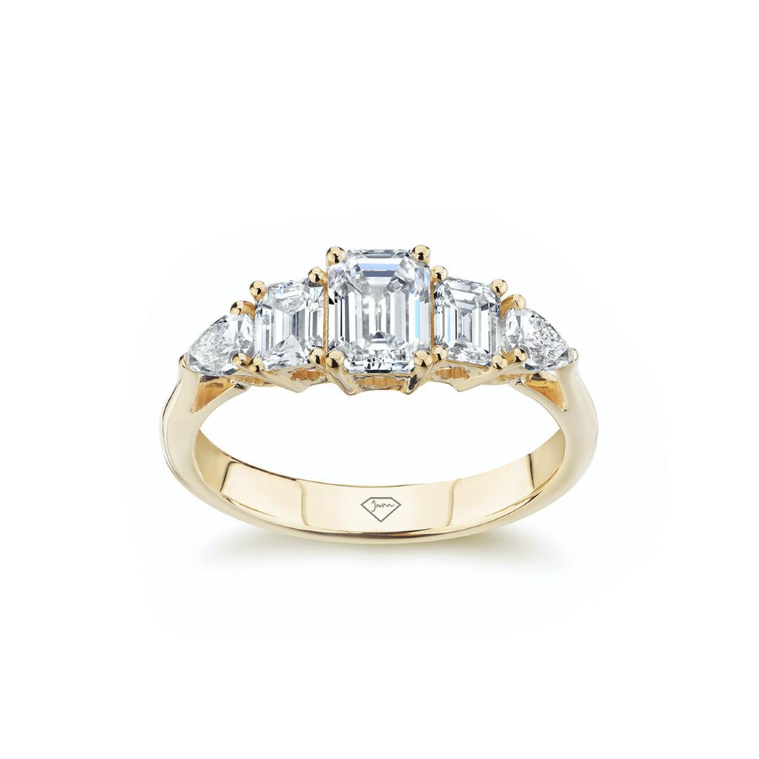 Lauren Emerald and Pear Diamond Art Deco