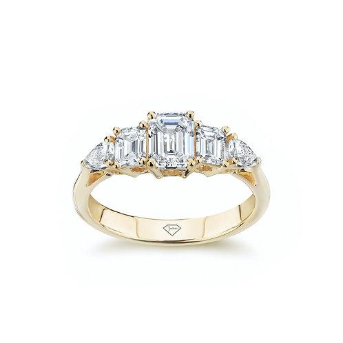 """Lauren"" Emerald and Pear Diamond Art Deco Engagement Ring"
