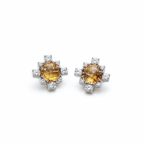Citrine and White Sapphire Stud Earrings in Sterling Silver
