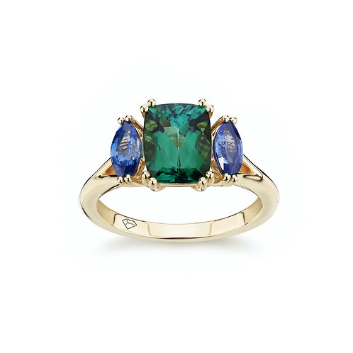 """Roxanne"" Tourmaline and Blue Sapphire Trilogy Engagement Ring"